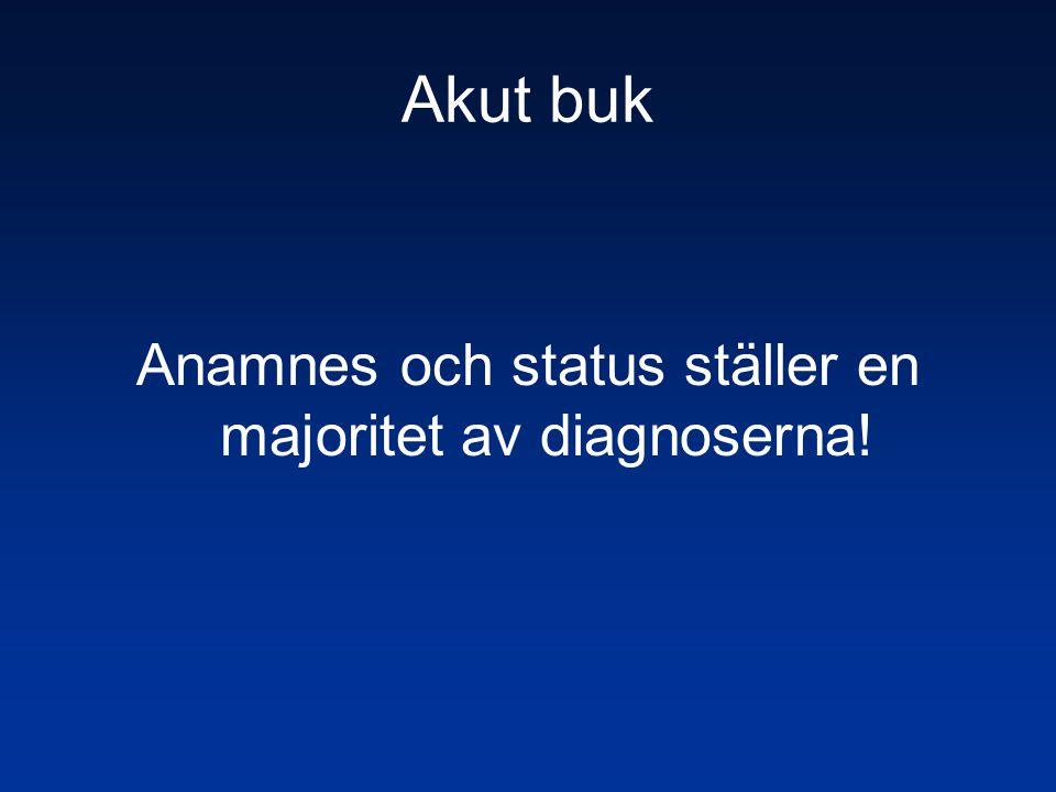 Anamnes och status ställer en majoritet av diagnoserna!