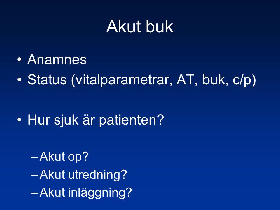 Akut buk Anamnes Status (vitalparametrar, AT, buk, c/p)