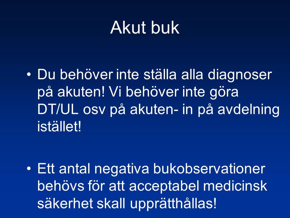 Akut buk Du behöver inte ställa alla diagnoser på akuten! Vi behöver inte göra DT/UL osv på akuten- in på avdelning istället!