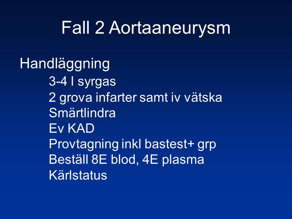 Fall 2 Aortaaneurysm Handläggning 3-4 l syrgas