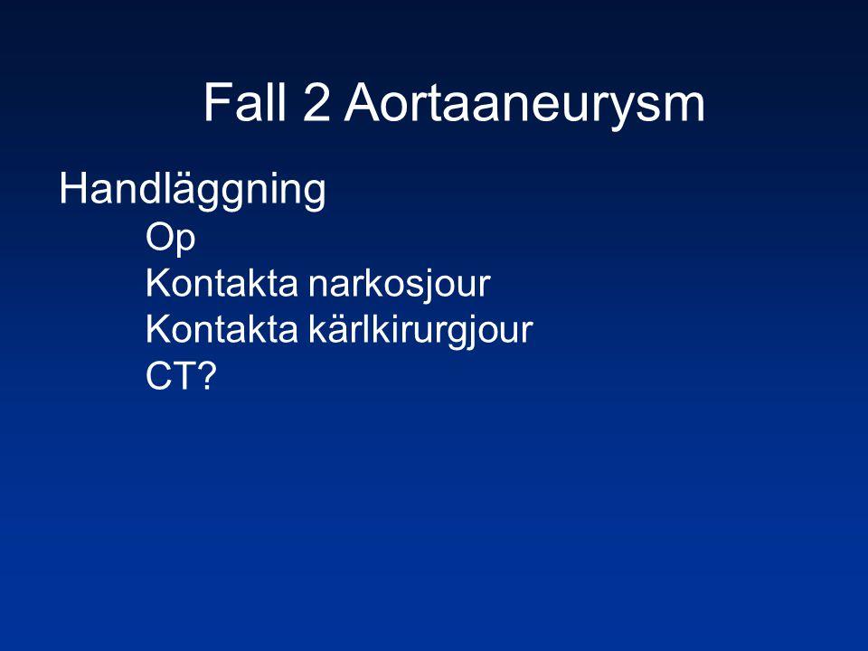 Fall 2 Aortaaneurysm Handläggning Op Kontakta narkosjour