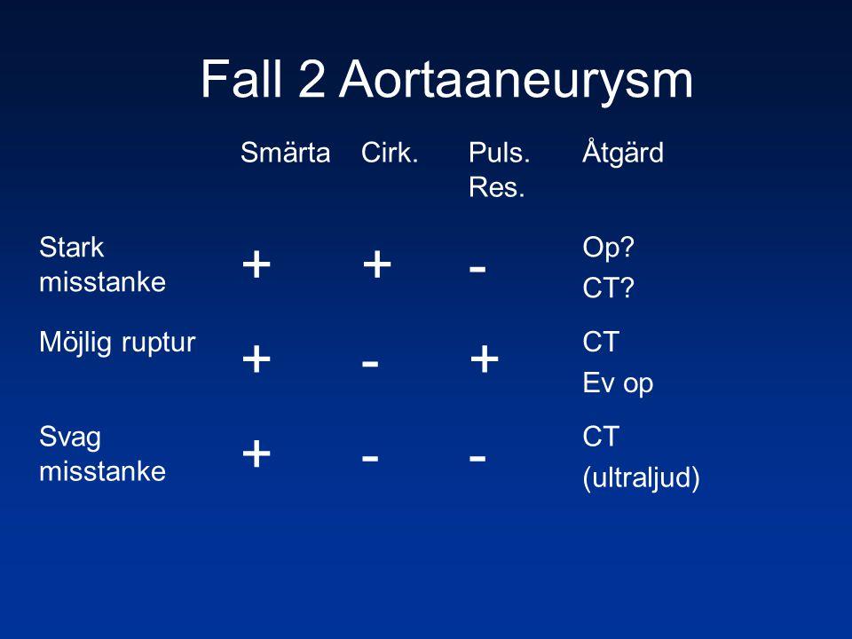 + - Fall 2 Aortaaneurysm Smärta Cirk. Puls. Res. Åtgärd