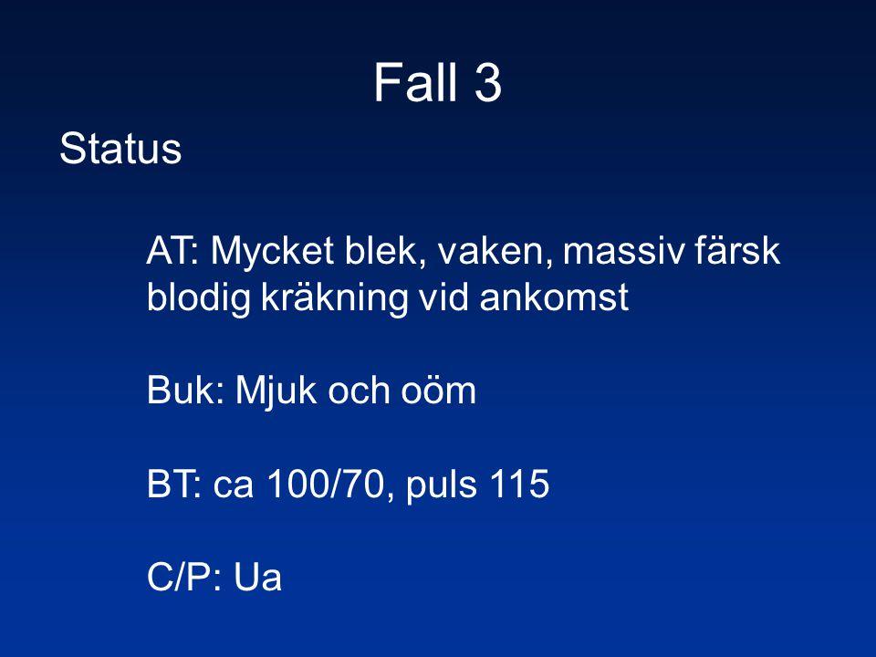 Fall 3 Status AT: Mycket blek, vaken, massiv färsk