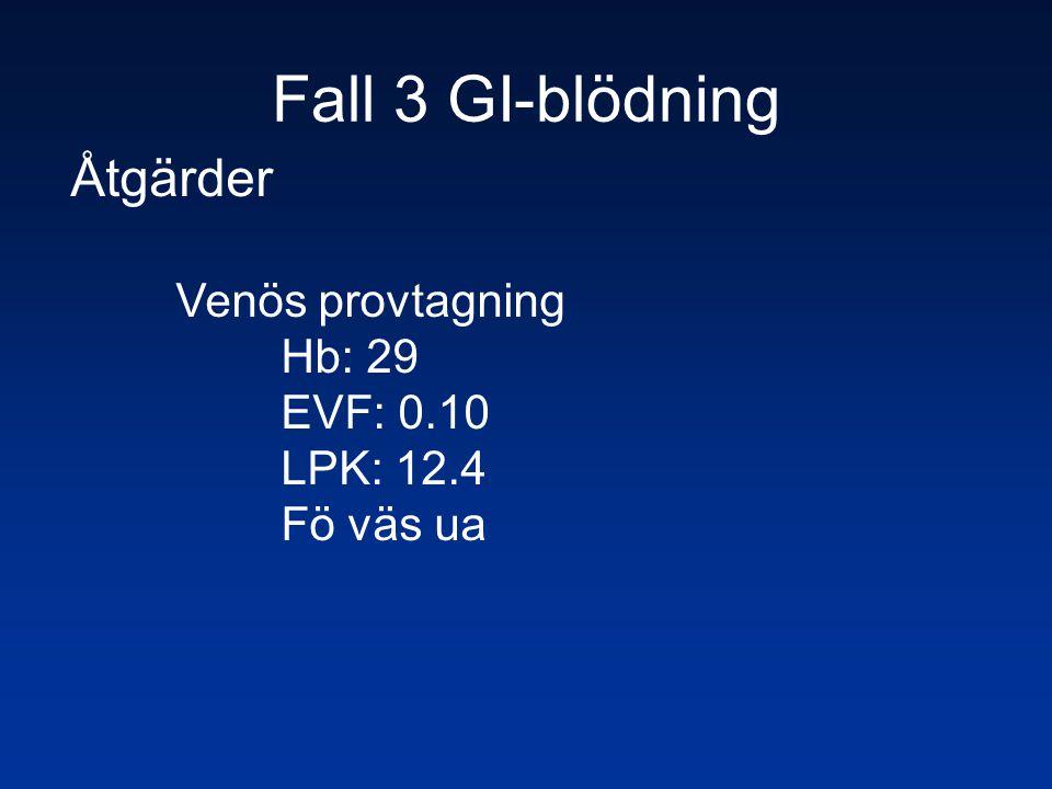 Fall 3 GI-blödning Åtgärder Venös provtagning Hb: 29 EVF: 0.10