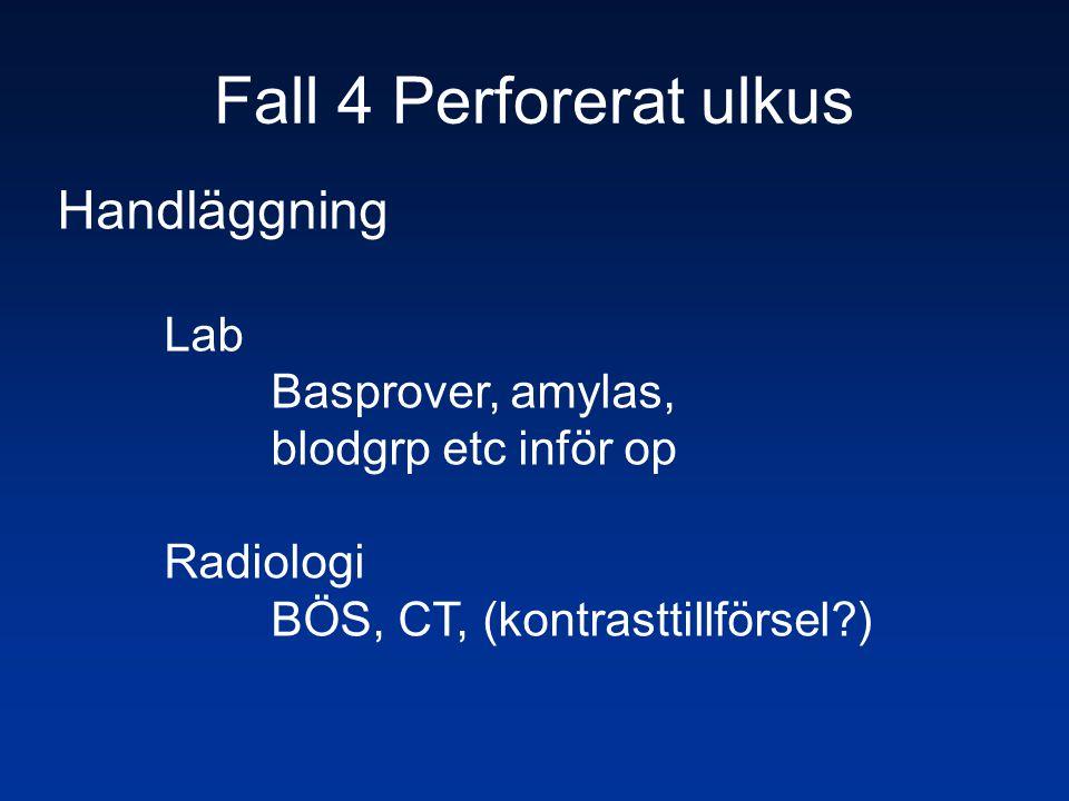 Fall 4 Perforerat ulkus Handläggning Lab Basprover, amylas,