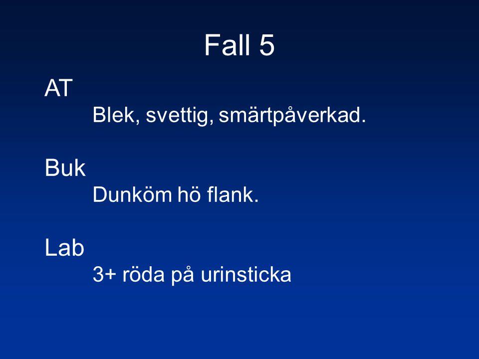 Fall 5 AT Buk Lab Blek, svettig, smärtpåverkad. Dunköm hö flank.