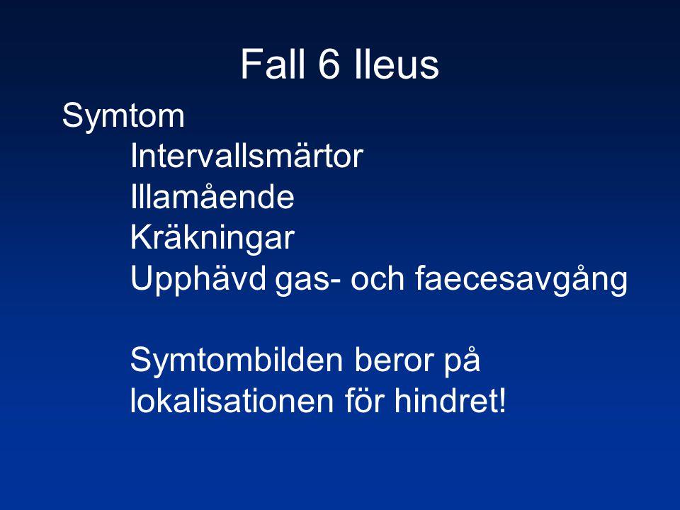 Fall 6 Ileus Symtom Intervallsmärtor Illamående Kräkningar