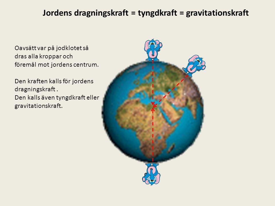 Jordens dragningskraft = tyngdkraft = gravitationskraft