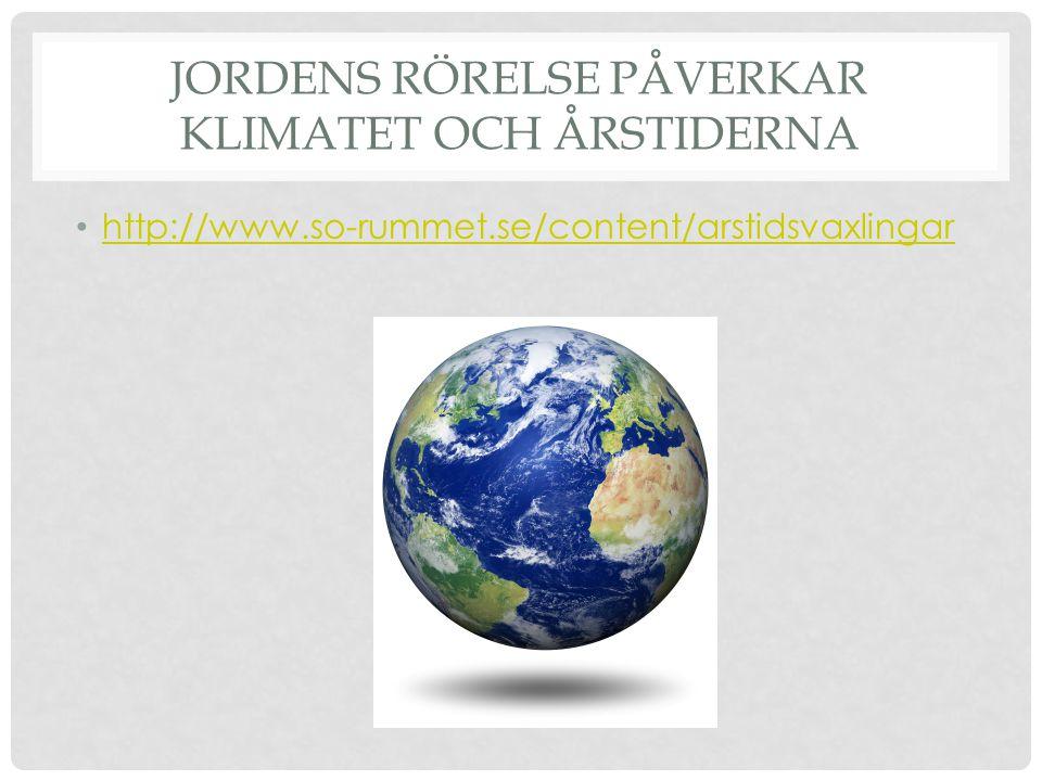 Jordens rörelse påverkar klimatet och årstiderna
