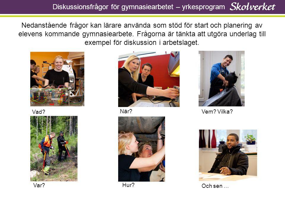 Diskussionsfrågor för gymnasiearbetet – yrkesprogram