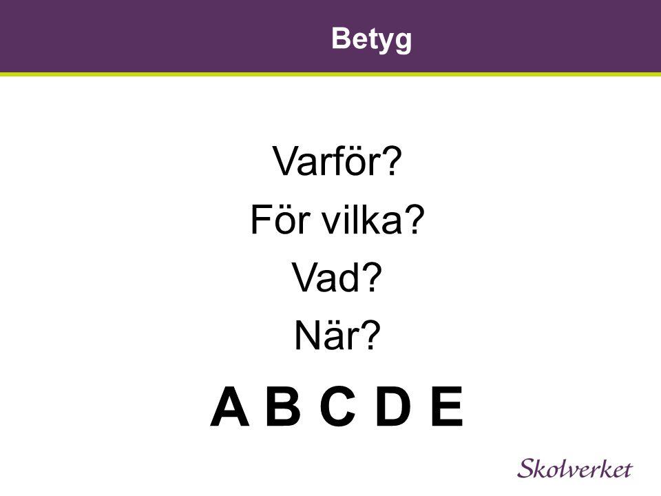 Betyg Varför För vilka Vad När A B C D E