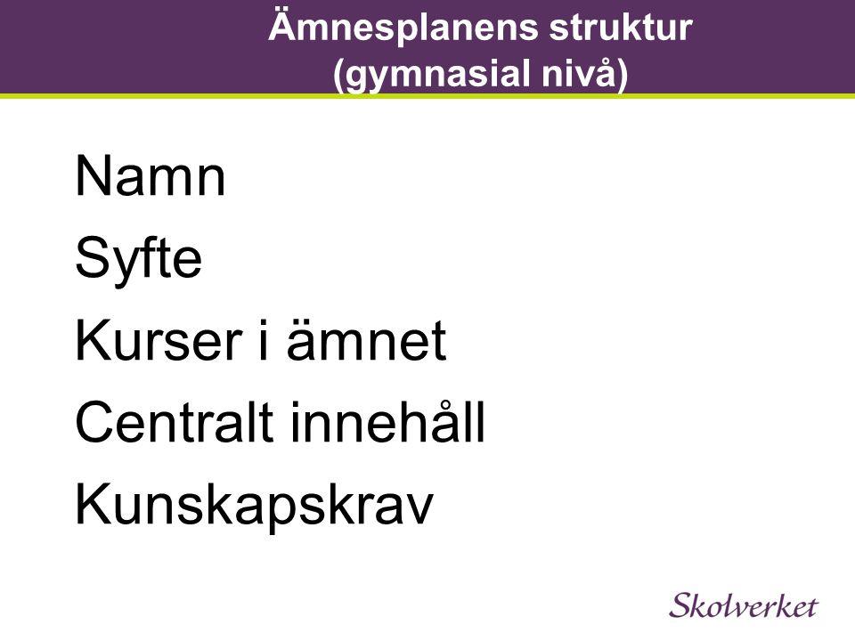 Ämnesplanens struktur (gymnasial nivå)