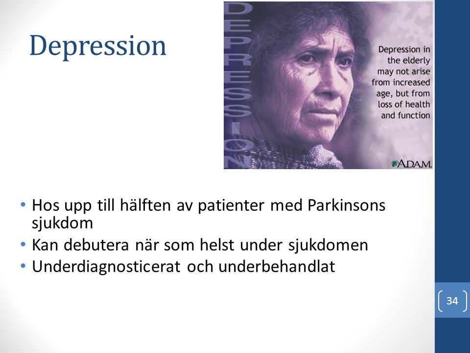 Depression Hos upp till hälften av patienter med Parkinsons sjukdom