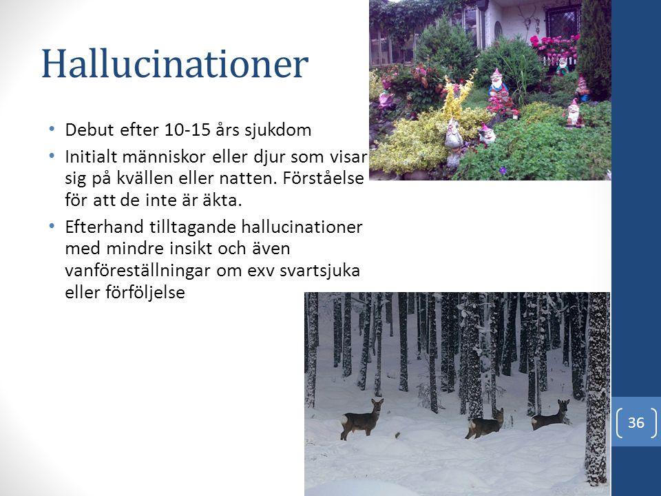 Hallucinationer Debut efter 10-15 års sjukdom