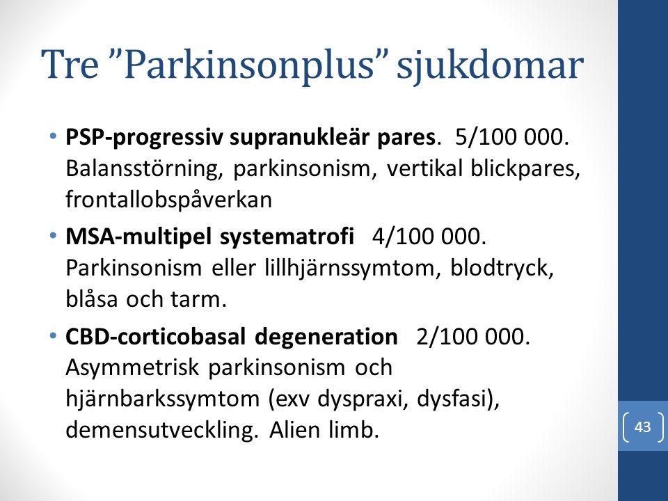 Tre Parkinsonplus sjukdomar