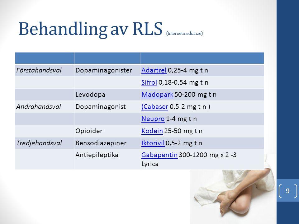 Behandling av RLS (Internetmedicin.se)