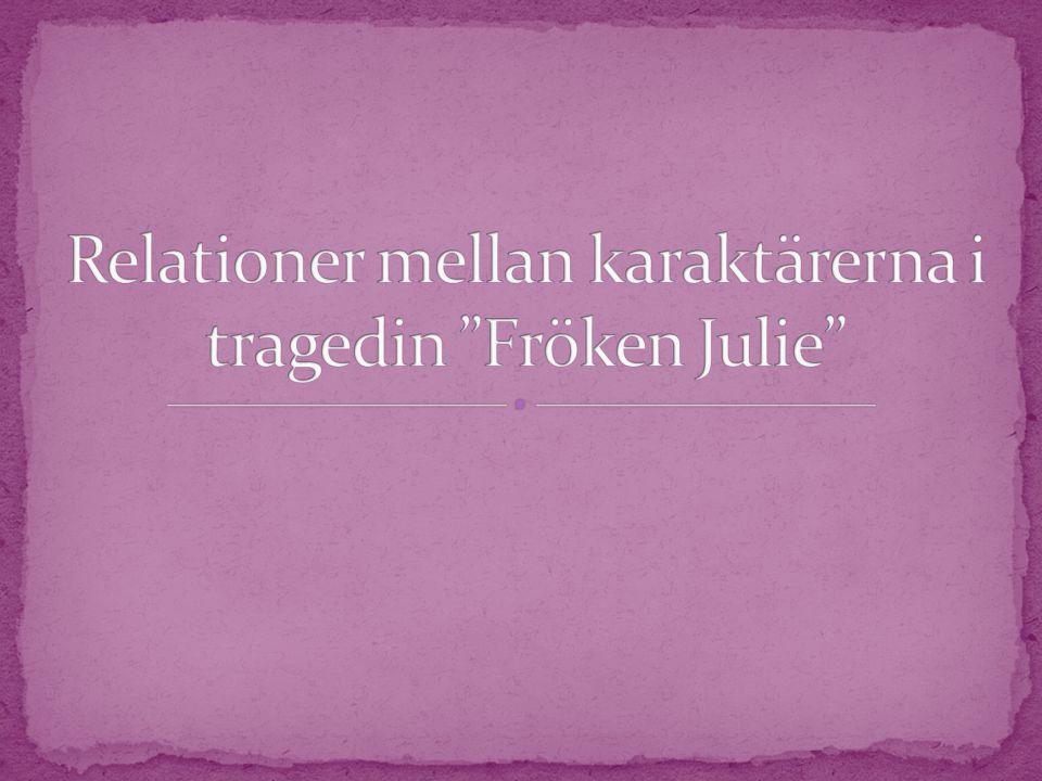 Relationer mellan karaktärerna i tragedin Fröken Julie