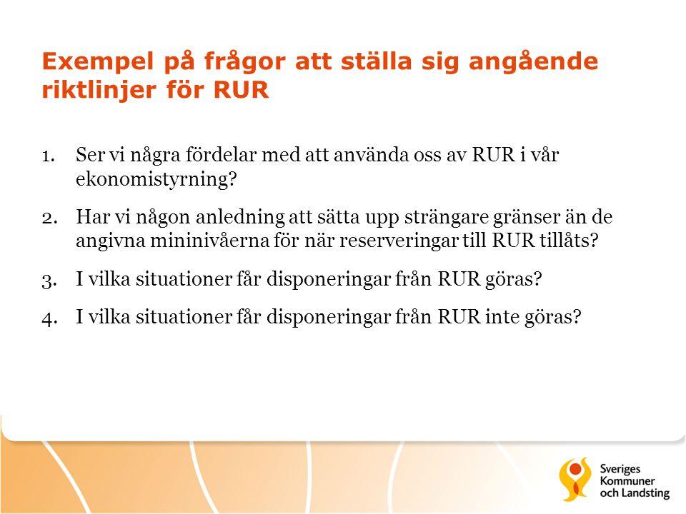 Exempel på frågor att ställa sig angående riktlinjer för RUR