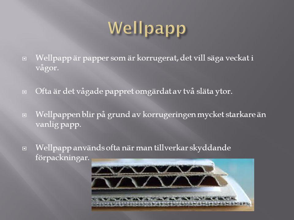 Wellpapp Wellpapp är papper som är korrugerat, det vill säga veckat i vågor. Ofta är det vågade pappret omgärdat av två släta ytor.