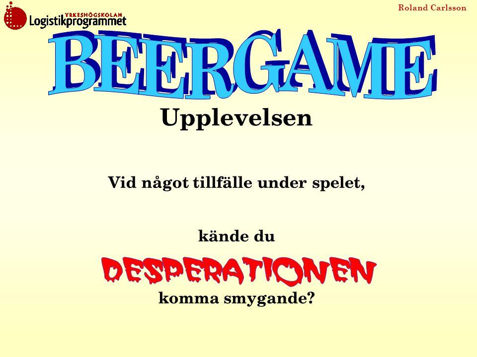 BEERGAME Upplevelsen Vid något tillfälle under spelet,