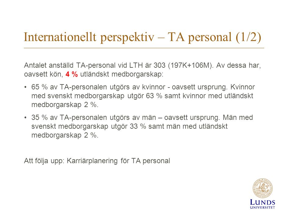Internationellt perspektiv – TA personal (1/2)