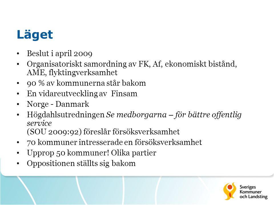 Läget Beslut i april 2009. Organisatoriskt samordning av FK, Af, ekonomiskt bistånd, AME, flyktingverksamhet.