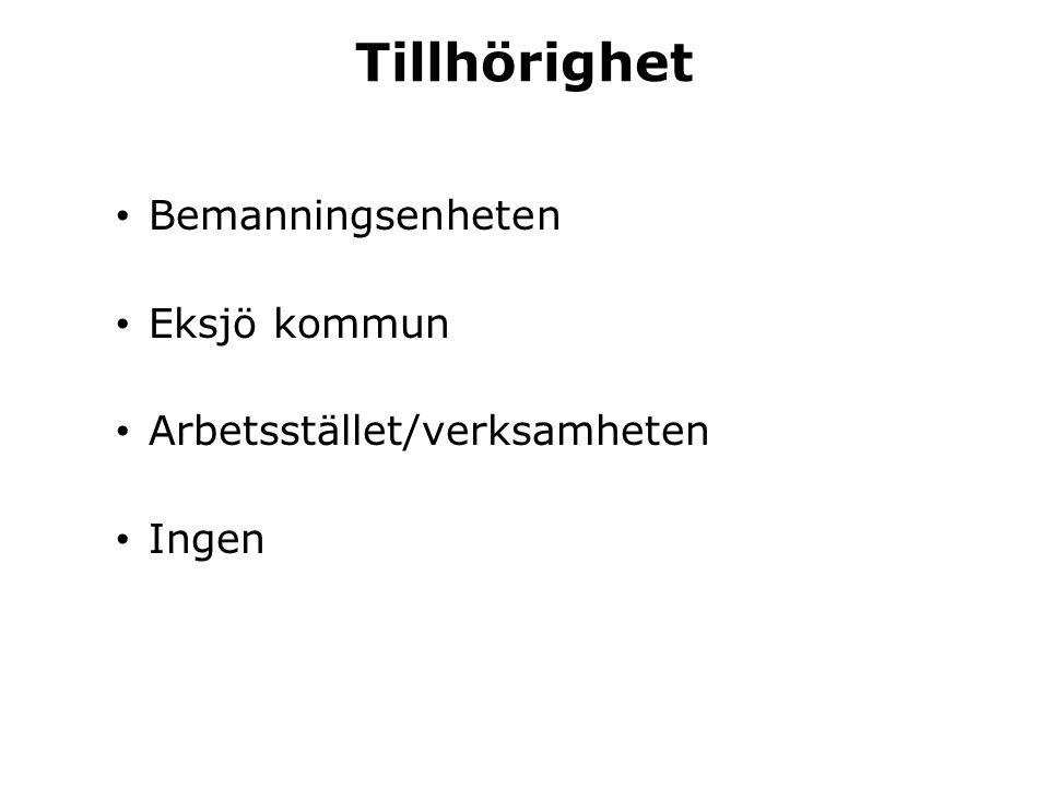Tillhörighet Bemanningsenheten Eksjö kommun Arbetsstället/verksamheten