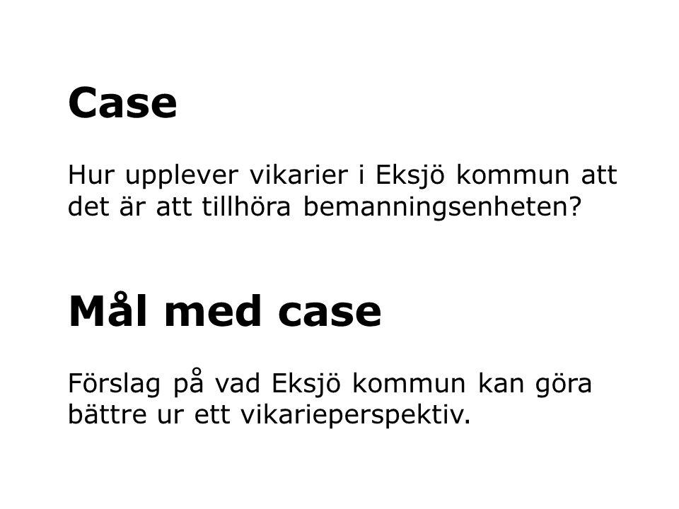 Case Hur upplever vikarier i Eksjö kommun att det är att tillhöra bemanningsenheten Mål med case.