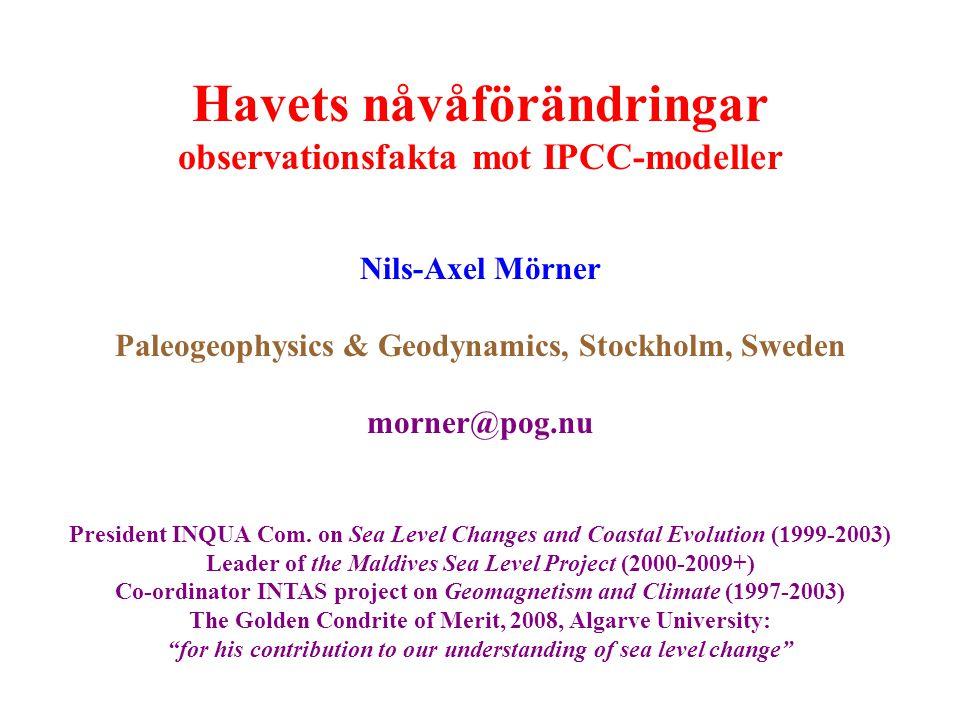Havets nåvåförändringar observationsfakta mot IPCC-modeller