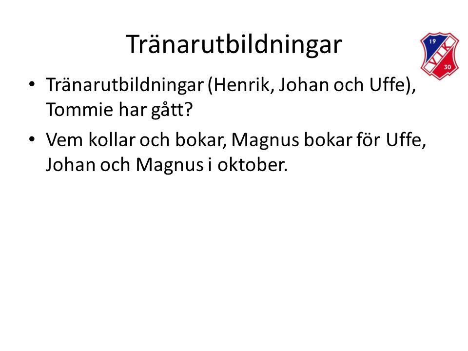 Tränarutbildningar Tränarutbildningar (Henrik, Johan och Uffe), Tommie har gått