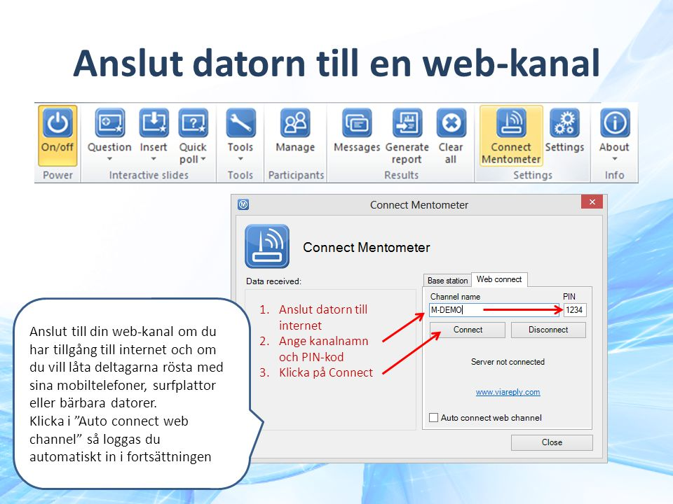 Anslut datorn till en web-kanal