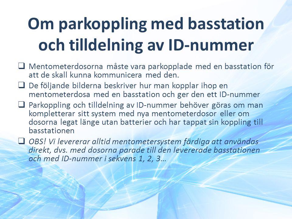 Om parkoppling med basstation och tilldelning av ID-nummer