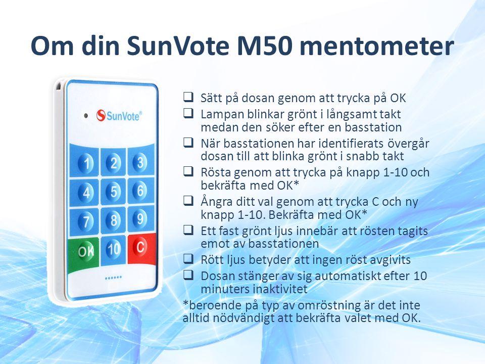 Om din SunVote M50 mentometer