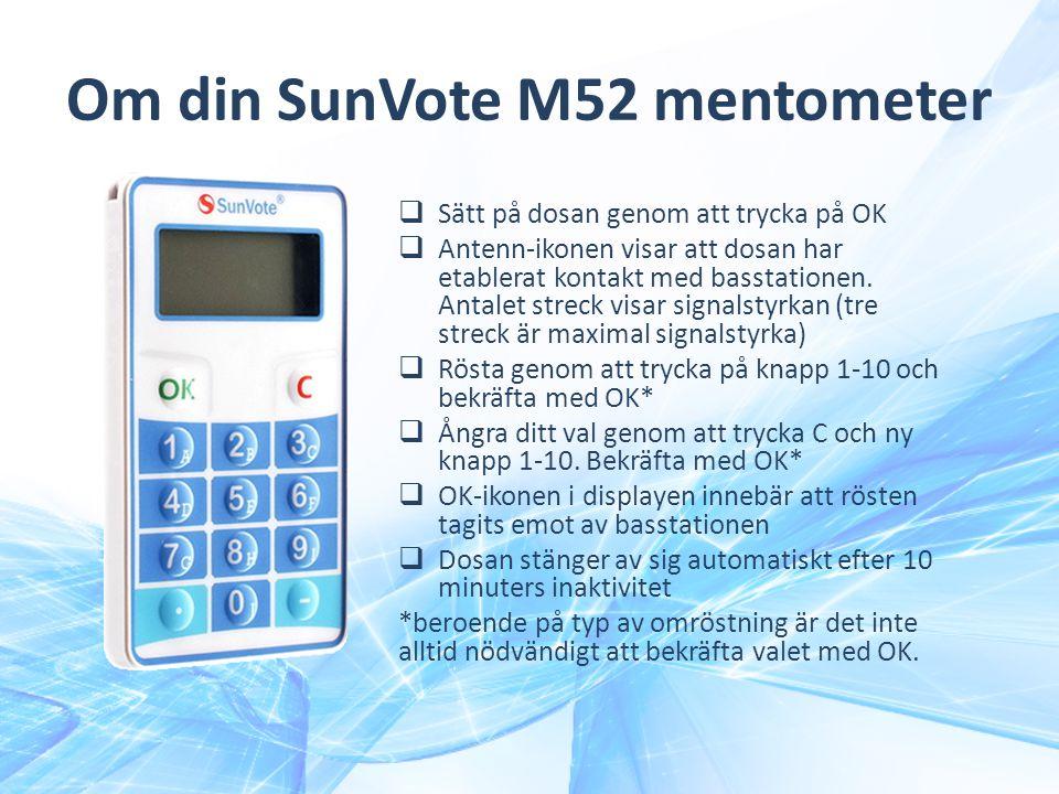 Om din SunVote M52 mentometer