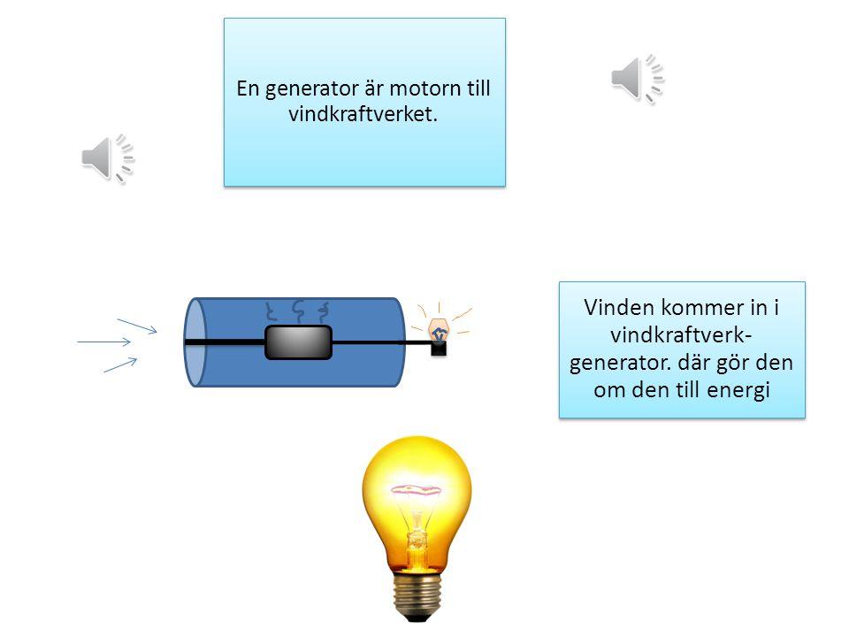 En generator är motorn till vindkraftverket.