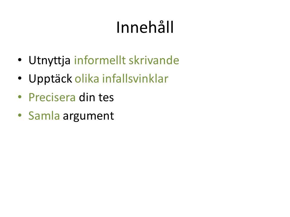 Innehåll Utnyttja informellt skrivande Upptäck olika infallsvinklar