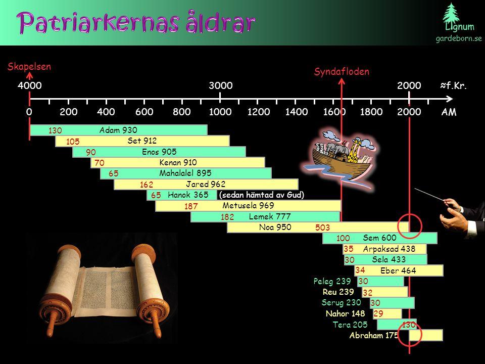 Patriarkernas åldrar Skapelsen. Syndafloden. 4000. 3000. 2000. ≈f.Kr. 200. 400. 600. 800. 1000.
