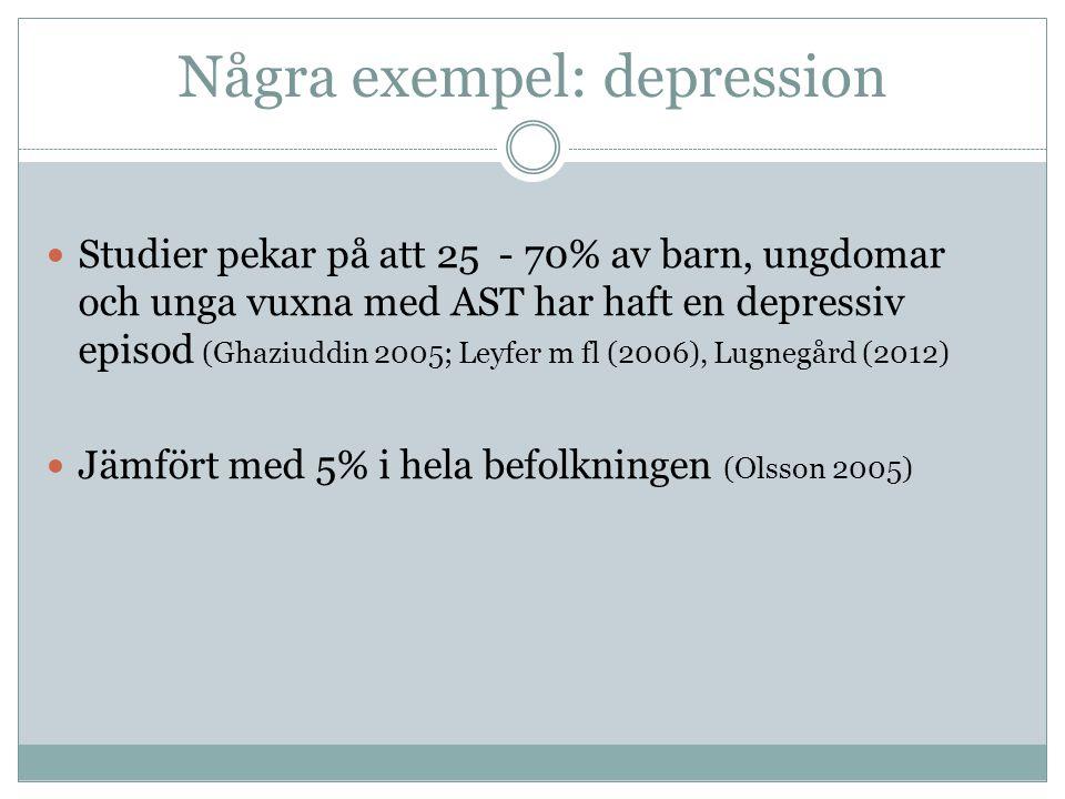 Några exempel: depression