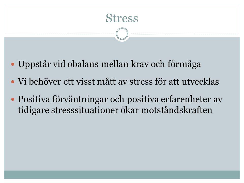Stress Uppstår vid obalans mellan krav och förmåga