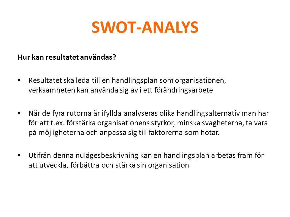 SWOT-ANALYS Hur kan resultatet användas