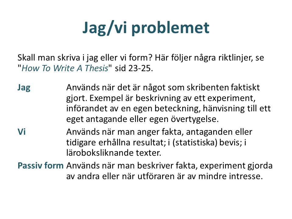 Jag/vi problemet