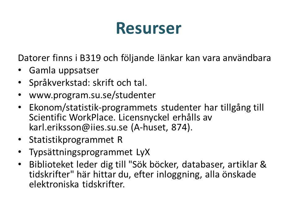 Resurser Datorer finns i B319 och följande länkar kan vara användbara