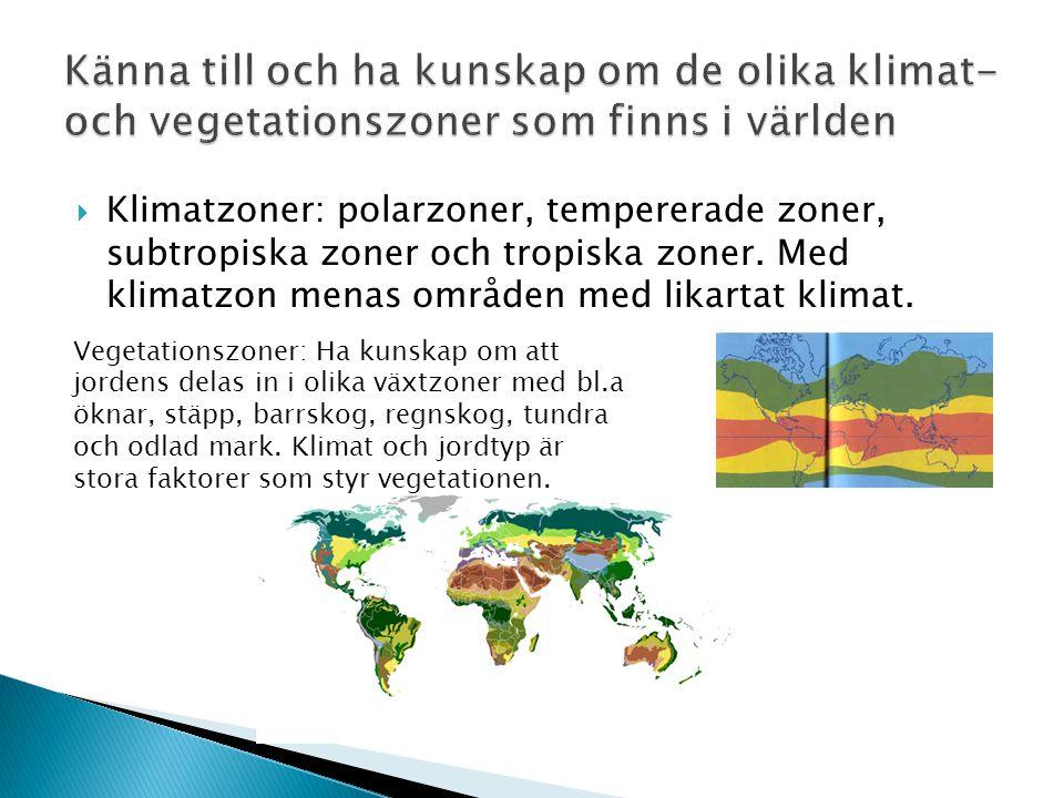 Känna till och ha kunskap om de olika klimat- och vegetationszoner som finns i världen