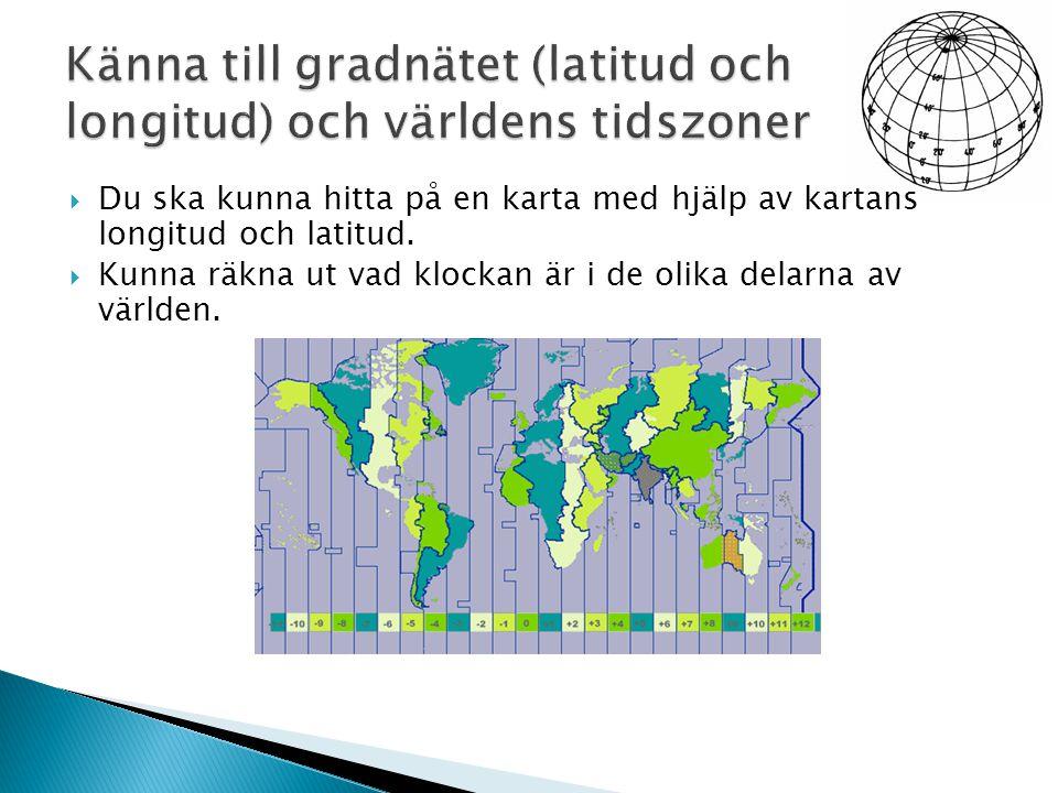 Känna till gradnätet (latitud och longitud) och världens tidszoner