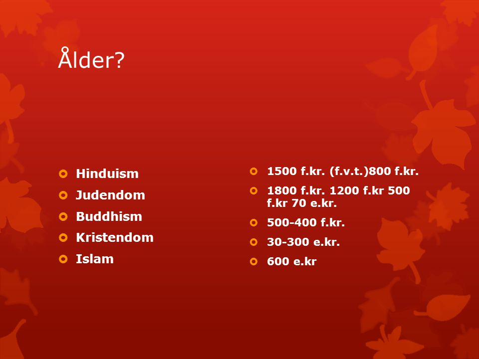 Ålder Hinduism Judendom Buddhism Kristendom Islam