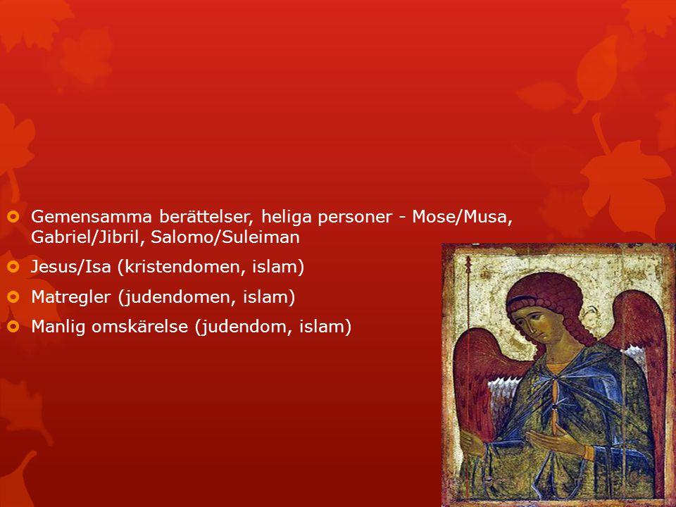 Gemensamma berättelser, heliga personer - Mose/Musa, Gabriel/Jibril, Salomo/Suleiman