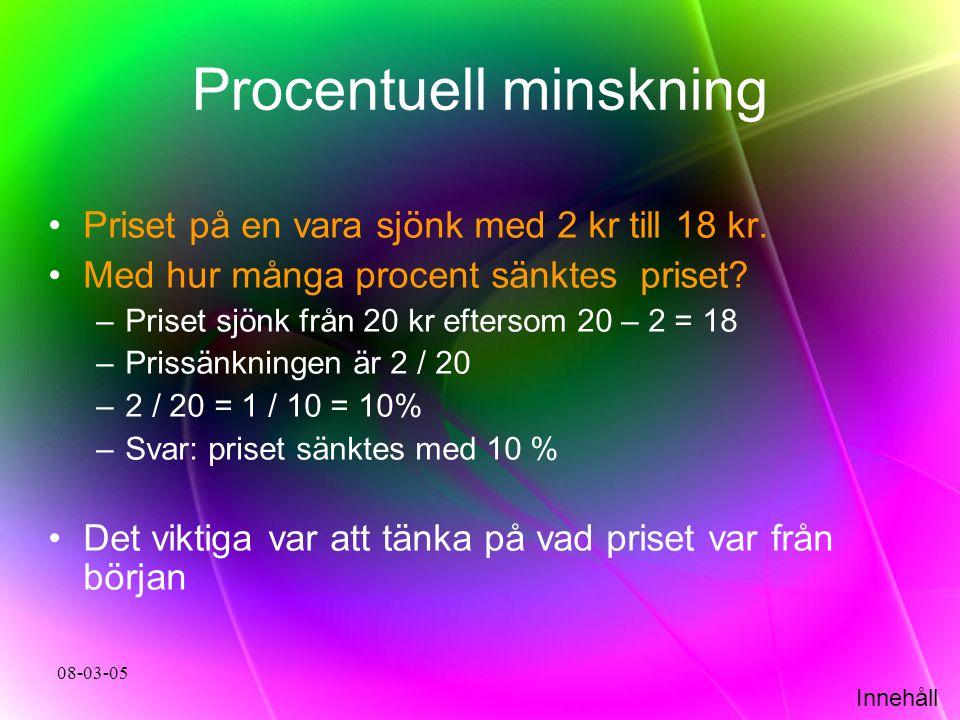 Procentuell minskning