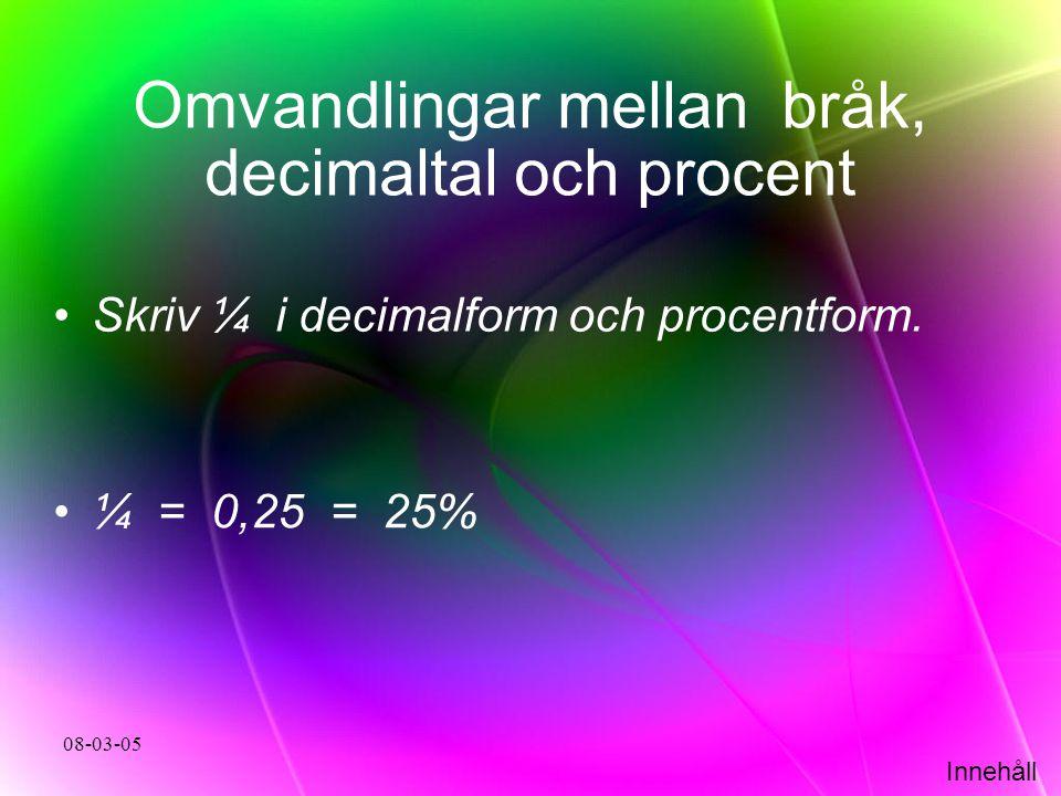 Omvandlingar mellan bråk, decimaltal och procent