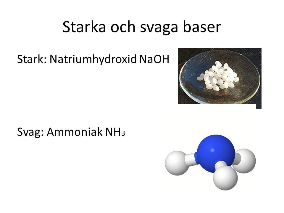 Starka och svaga baser Stark: Natriumhydroxid NaOH Svag: Ammoniak NH3
