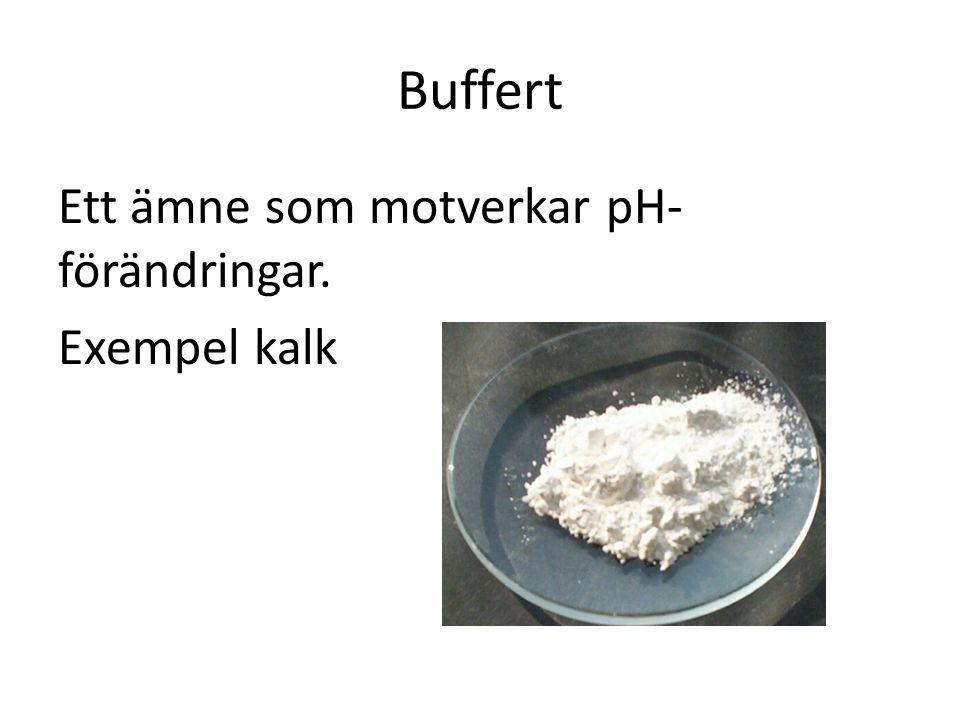 Buffert Ett ämne som motverkar pH-förändringar. Exempel kalk